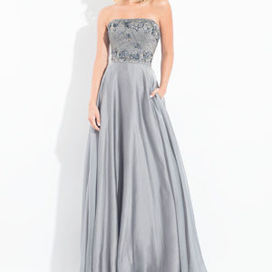 NWT Gunmetal Gray Long Prom Pocket Dress Size 14